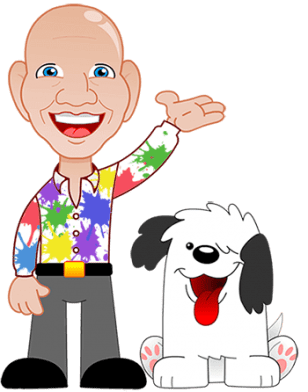 Mr Shiney with Digby The Childrens Entertainer Dog